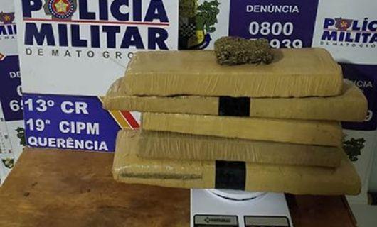 Um adulto é preso e um menor de idade apreendido por transportar drogas de Querência à Canarana