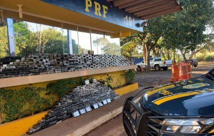 Meia tonelada de cocaína é apreendida em fundo falso de caminhão em Barra do Garças