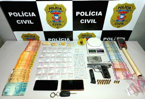 Drogas sintéticas, arma e dinheiro são apreendidos com dupla que traficava próximo a escola em Confresa